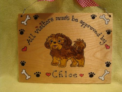 Personalised Puppy Dog Kennel Bed Run House Wooden Sign Personalised Any Breed /Colouration Phrasing 7x 5 inches